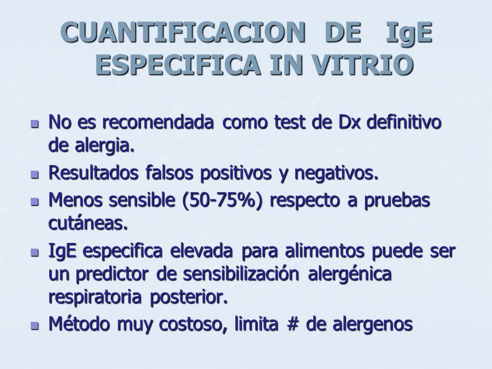 CUANTIFICACION DE IgE ESPECIFICA IN VITRIO No es recomendada como test de Dx definitivo de alergia. No es recomendada como test de Dx definitivo de al