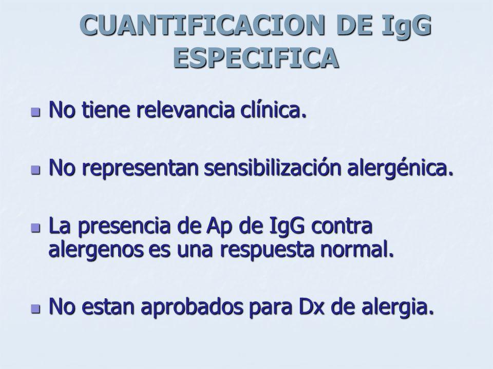 CUANTIFICACION DE IgG ESPECIFICA No tiene relevancia clínica. No tiene relevancia clínica. No representan sensibilización alergénica. No representan s