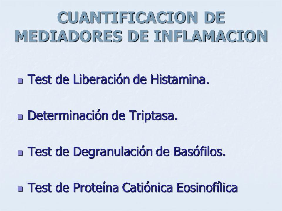 CUANTIFICACION DE MEDIADORES DE INFLAMACION Test de Liberación de Histamina. Test de Liberación de Histamina. Determinación de Triptasa. Determinación