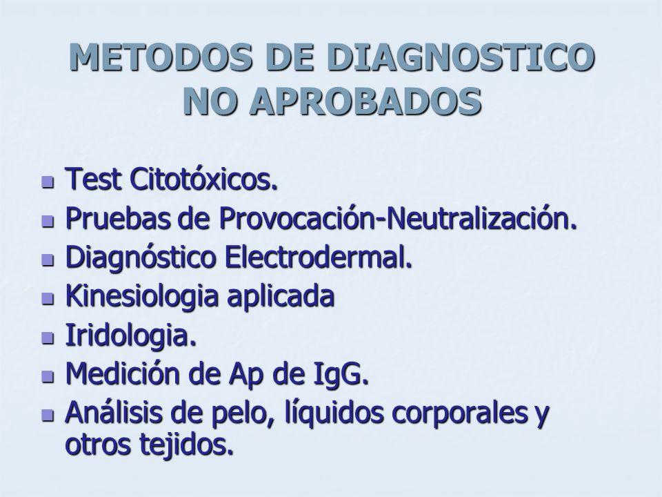 METODOS DE DIAGNOSTICO NO APROBADOS Test Citotóxicos. Test Citotóxicos. Pruebas de Provocación-Neutralización. Pruebas de Provocación-Neutralización.