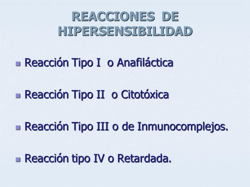 REACCIONES DE HIPERSENSIBILIDAD Reacción Tipo I o Anafiláctica Reacción Tipo I o Anafiláctica Reacción Tipo II o Citotóxica Reacción Tipo II o Citotóx