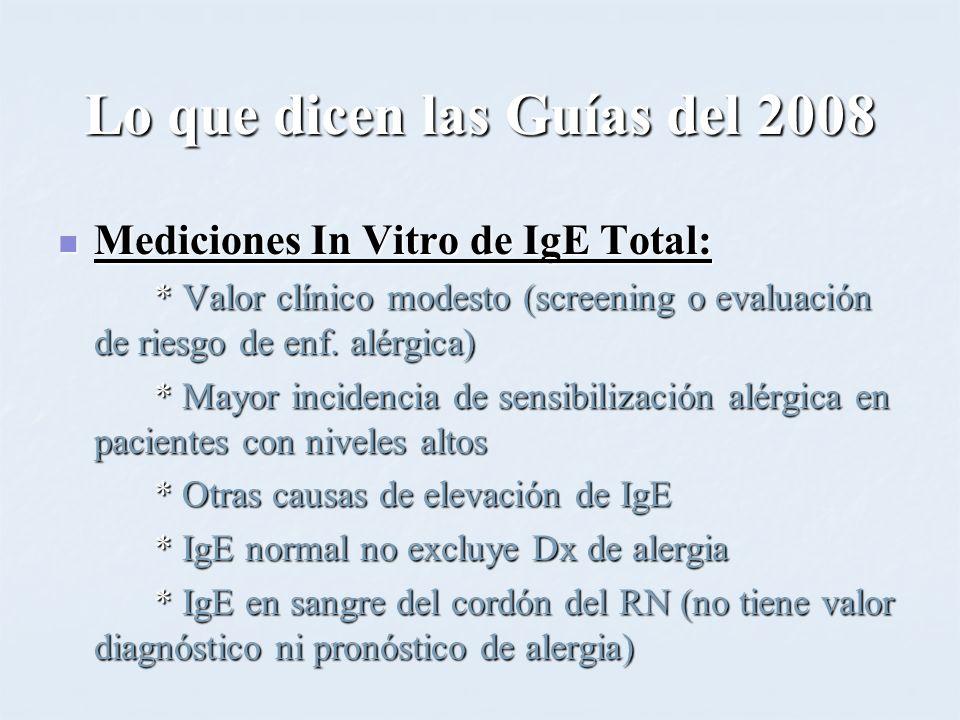 Lo que dicen las Guías del 2008 Mediciones In Vitro de IgE Total: Mediciones In Vitro de IgE Total: * Valor clínico modesto (screening o evaluación de