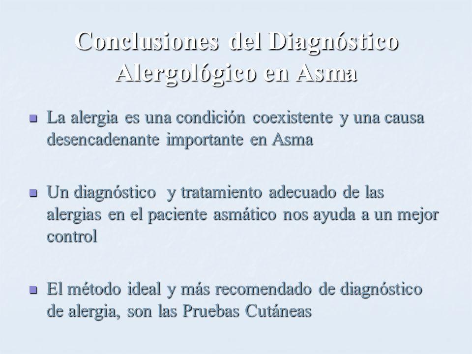 Conclusiones del Diagnóstico Alergológico en Asma La alergia es una condición coexistente y una causa desencadenante importante en Asma La alergia es