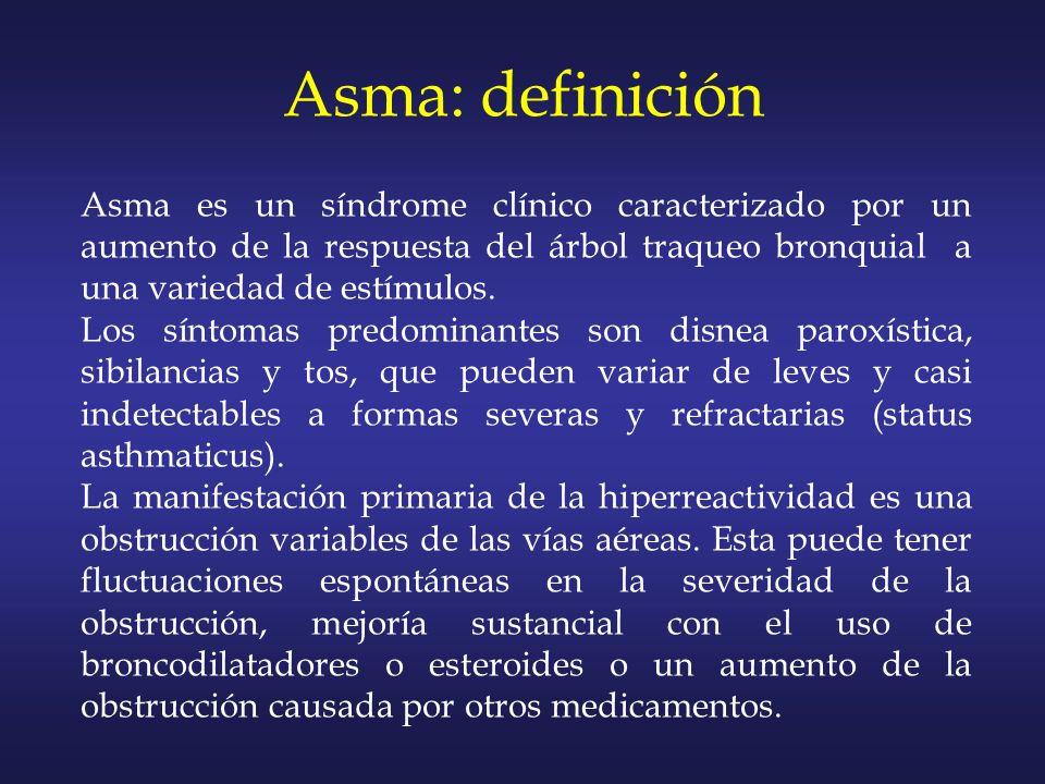 Asma es un síndrome clínico caracterizado por un aumento de la respuesta del árbol traqueo bronquial a una variedad de estímulos. Los síntomas predomi