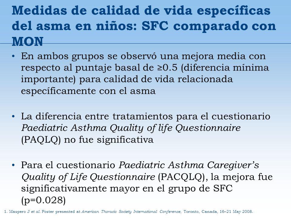 Medidas de calidad de vida específicas del asma en niños: SFC comparado con MON 1. Maspero J et al. Poster presented at American Thoracic Society Inte