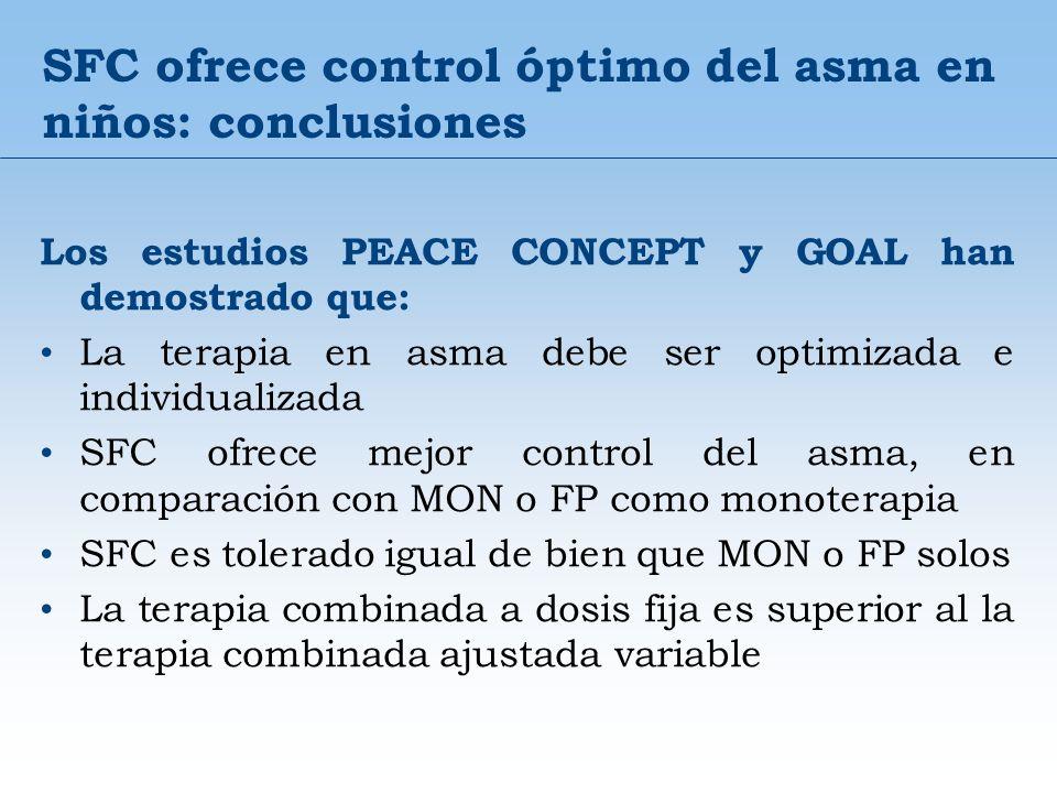 SFC ofrece control óptimo del asma en niños: conclusiones Los estudios PEACE CONCEPT y GOAL han demostrado que: La terapia en asma debe ser optimizada
