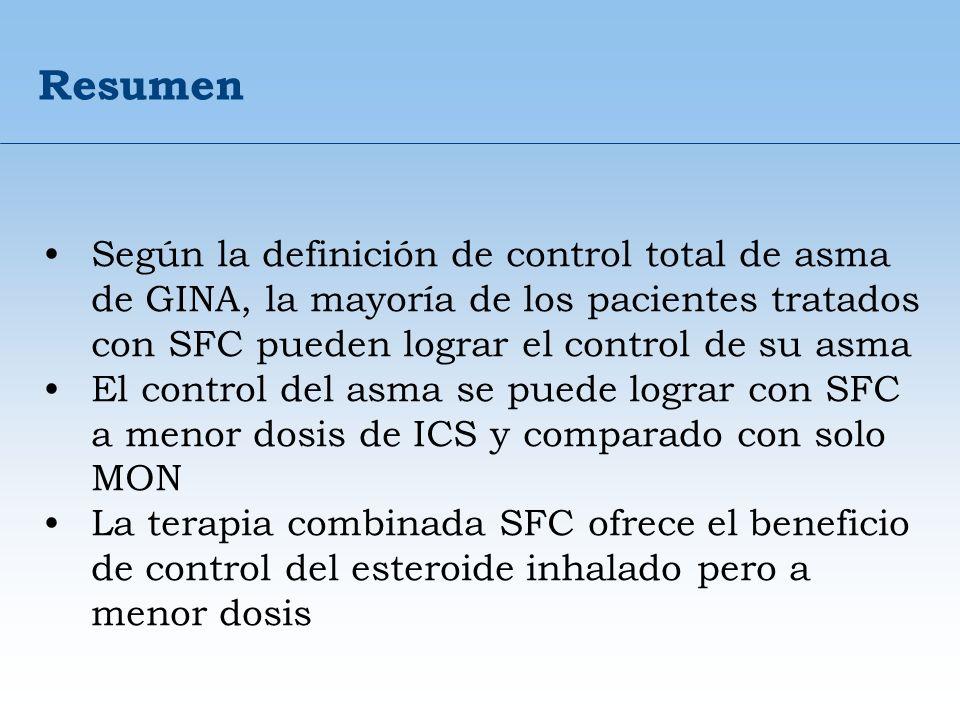 Resumen Según la definición de control total de asma de GINA, la mayoría de los pacientes tratados con SFC pueden lograr el control de su asma El cont