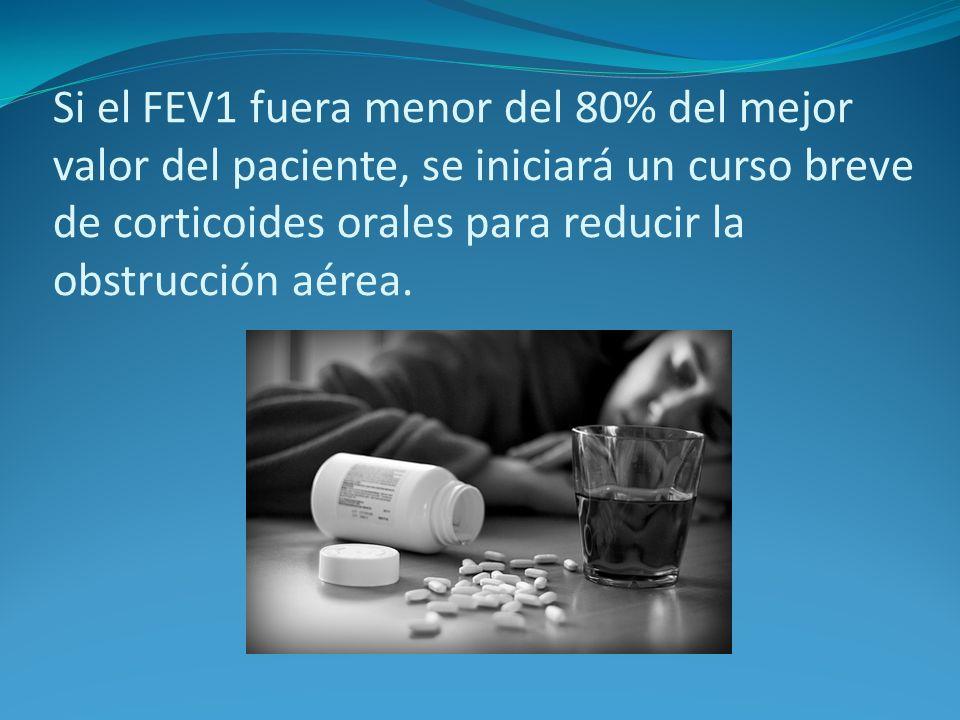 Si el FEV1 fuera menor del 80% del mejor valor del paciente, se iniciará un curso breve de corticoides orales para reducir la obstrucción aérea.
