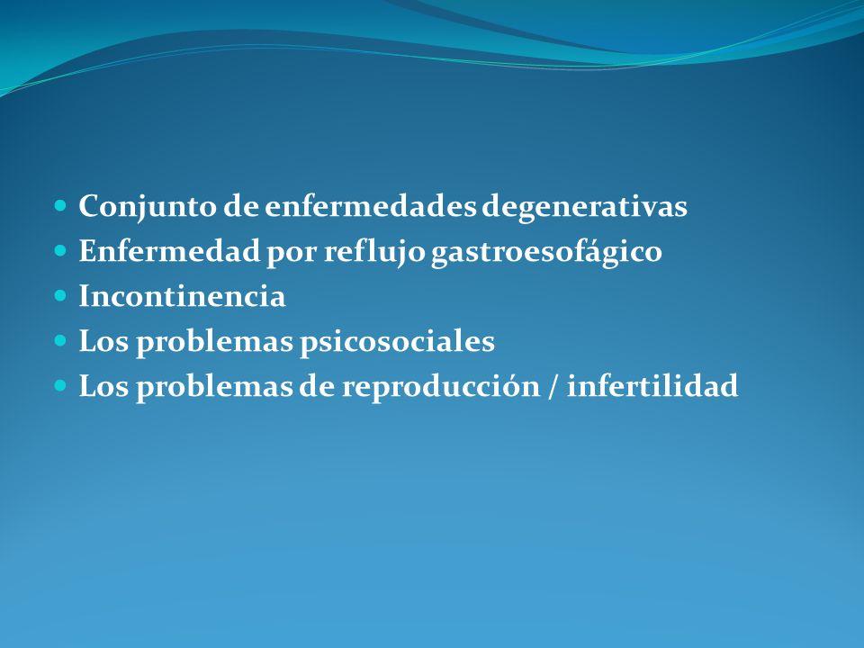 Conjunto de enfermedades degenerativas Enfermedad por reflujo gastroesofágico Incontinencia Los problemas psicosociales Los problemas de reproducción