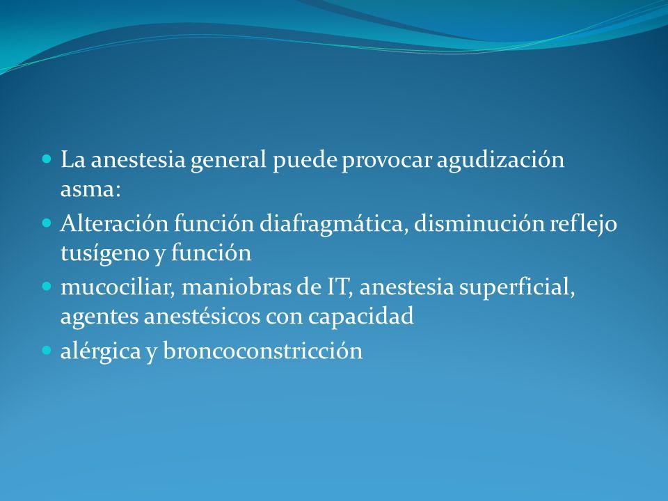 Alteración función diafragmática, disminución reflejo tusígeno y función mucociliar, maniobras de IT, anestesia superficial, agentes anestésicos con c