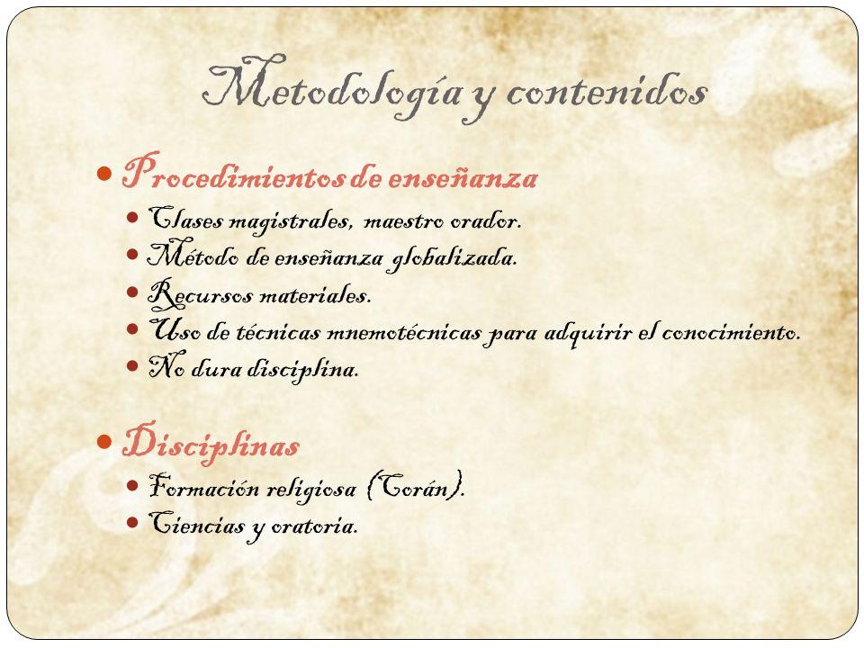 Metodología y contenidos Procedimientos de enseñanza Clases magistrales, maestro orador. Método de enseñanza globalizada. Recursos materiales. Uso de