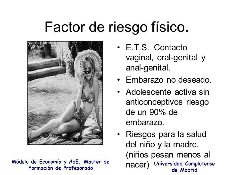 Factor de riesgo físico. E.T.S. Contacto vaginal, oral-genital y anal-genital. Embarazo no deseado. Adolescente activa sin anticonceptivos riesgo de u