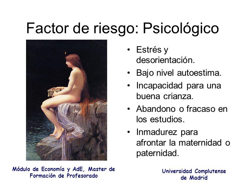 Factor de riesgo: Psicológico Estrés y desorientación. Bajo nivel autoestima. Incapacidad para una buena crianza. Abandono o fracaso en los estudios.