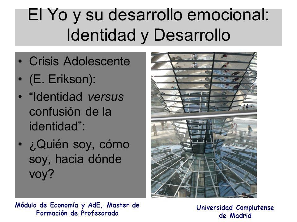 El Yo y su desarrollo emocional: Identidad y Desarrollo Crisis Adolescente (E. Erikson): Identidad versus confusión de la identidad: ¿Quién soy, cómo