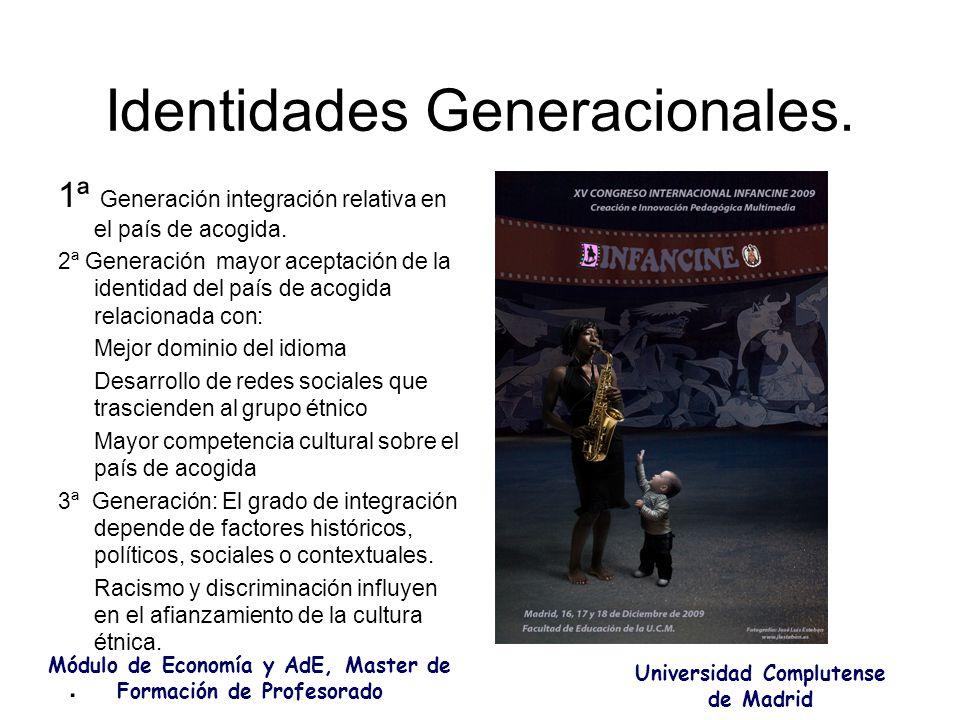 Identidades Generacionales. 1ª Generación integración relativa en el país de acogida. 2ª Generación mayor aceptación de la identidad del país de acogi