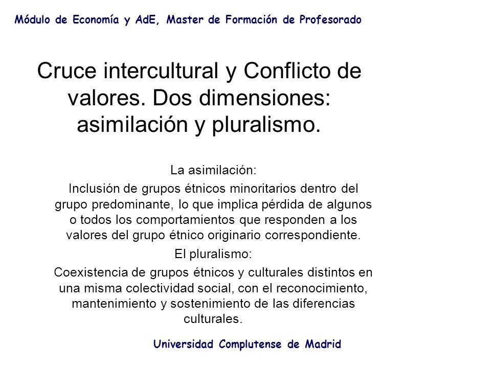 Cruce intercultural y Conflicto de valores. Dos dimensiones: asimilación y pluralismo. La asimilación: Inclusión de grupos étnicos minoritarios dentro