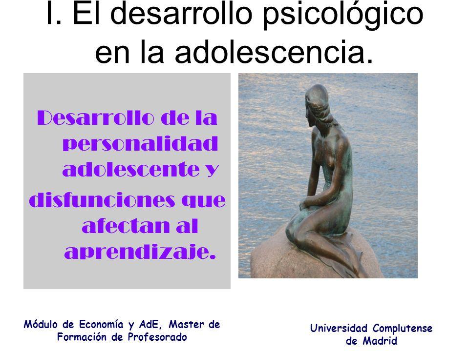 I. El desarrollo psicológico en la adolescencia. Desarrollo de la personalidad adolescente y disfunciones que afectan al aprendizaje. Módulo de Econom
