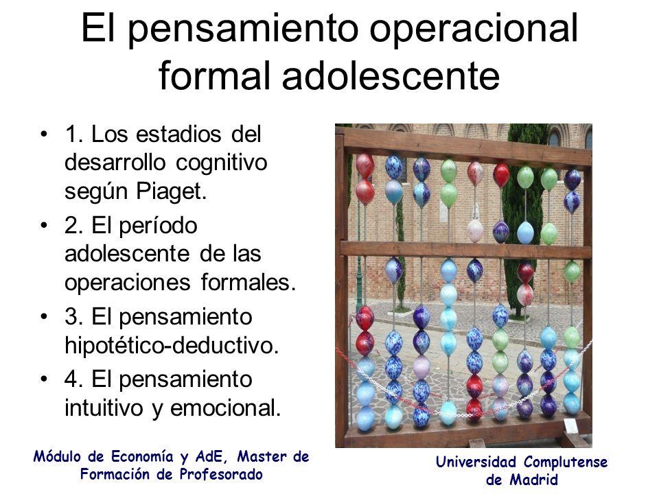 El pensamiento operacional formal adolescente 1. Los estadios del desarrollo cognitivo según Piaget. 2. El período adolescente de las operaciones form