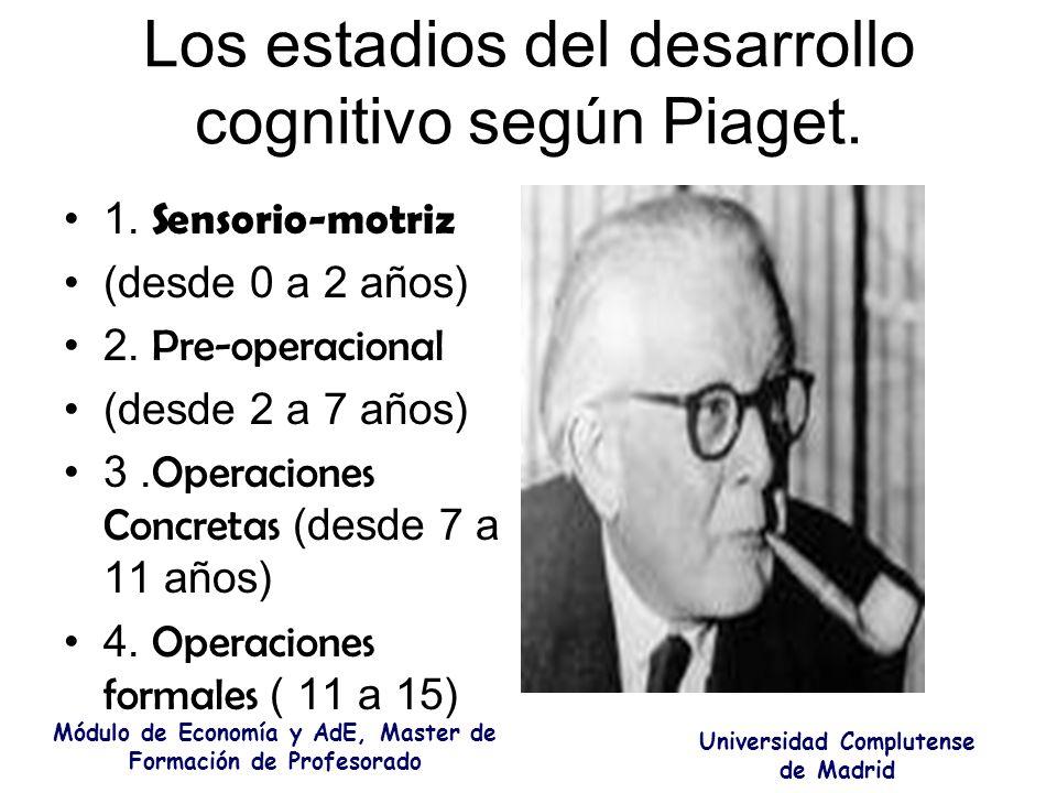 Los estadios del desarrollo cognitivo según Piaget. 1. Sensorio-motriz (desde 0 a 2 años) 2. Pre-operacional (desde 2 a 7 años) 3. Operaciones Concret