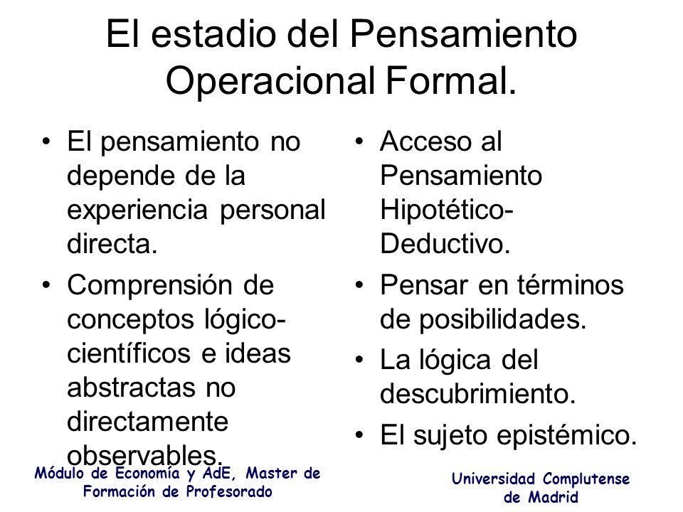 El estadio del Pensamiento Operacional Formal. El pensamiento no depende de la experiencia personal directa. Comprensión de conceptos lógico- científi
