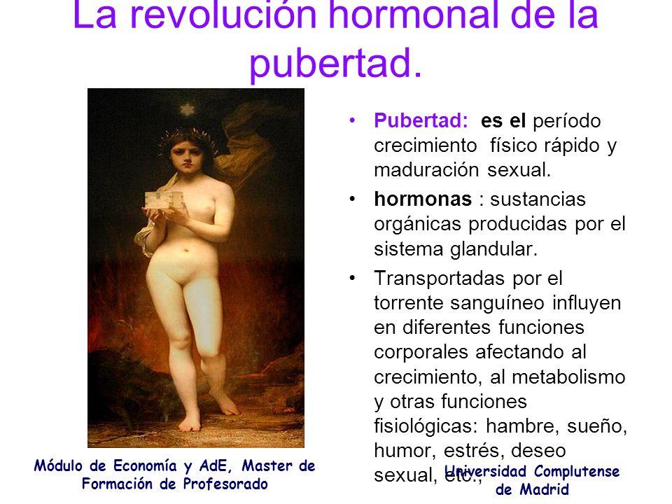 La revolución hormonal de la pubertad. Pubertad: es el período crecimiento físico rápido y maduración sexual. hormonas : sustancias orgánicas producid