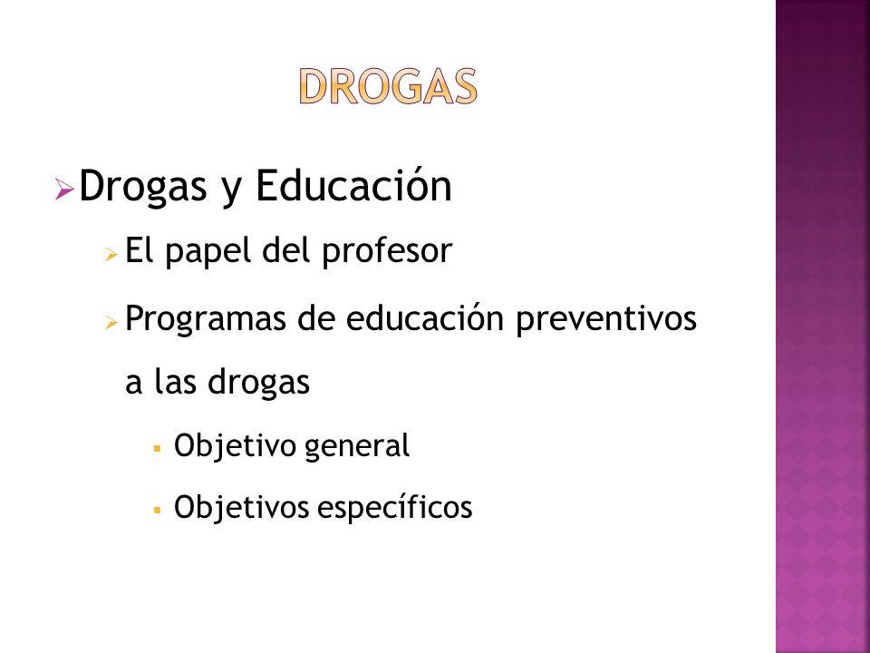 Drogas y Educación El papel del profesor Programas de educación preventivos a las drogas Objetivo general Objetivos específicos