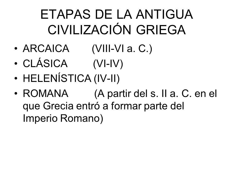 ETAPAS DE LA ANTIGUA CIVILIZACIÓN GRIEGA ARCAICA (VIII-VI a.