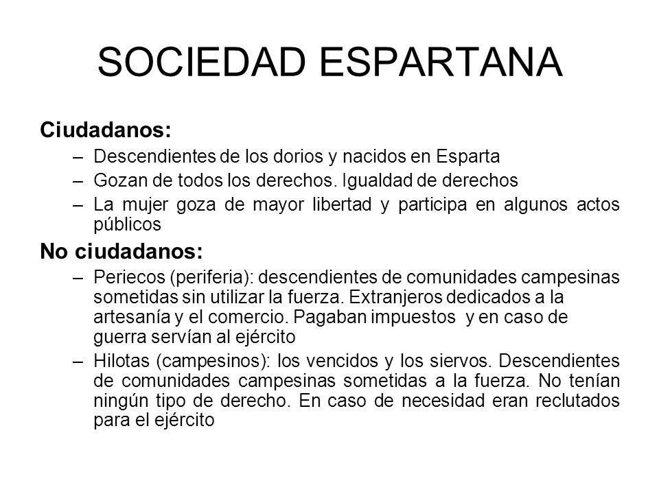 SOCIEDAD ESPARTANA Ciudadanos: –Descendientes de los dorios y nacidos en Esparta –Gozan de todos los derechos.