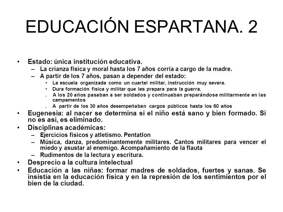 EDUCACIÓN ESPARTANA.2 Estado: única institución educativa.