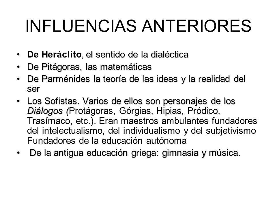 INFLUENCIAS ANTERIORES el sentido de la dialécticaDe Heráclito, el sentido de la dialéctica De Pitágoras, las matemáticasDe Pitágoras, las matemáticas De Parménides la teoría de las ideas y la realidad del serDe Parménides la teoría de las ideas y la realidad del ser Los Sofistas.