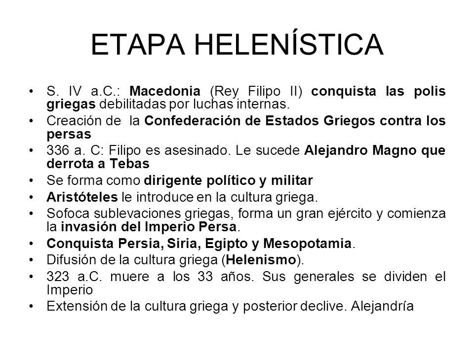 ETAPA HELENÍSTICA S. IV a.C.: Macedonia (Rey Filipo II) conquista las polis griegas debilitadas por luchas internas. Creación de la Confederación de E
