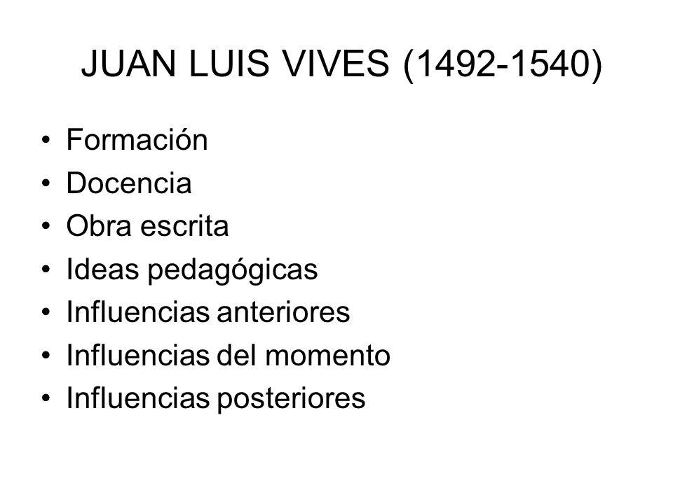 JUAN LUIS VIVES (1492-1540) Formación Docencia Obra escrita Ideas pedagógicas Influencias anteriores Influencias del momento Influencias posteriores