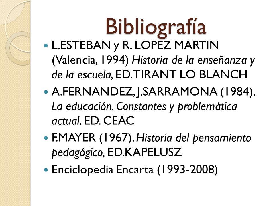 Bibliografía L.ESTEBAN y R. LOPEZ MARTIN (Valencia, 1994) Historia de la enseñanza y de la escuela, ED. TIRANT LO BLANCH A.FERNANDEZ, J.SARRAMONA (198