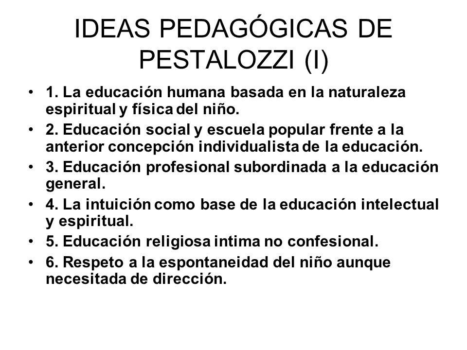 IDEAS PEDAGÓGICAS DE PESTALOZZI (I) 1. La educación humana basada en la naturaleza espiritual y física del niño. 2. Educación social y escuela popular