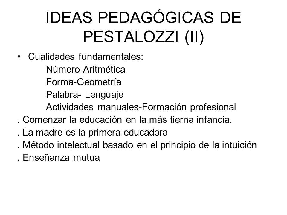 IDEAS PEDAGÓGICAS DE PESTALOZZI (II) Cualidades fundamentales: Número-Aritmética Forma-Geometría Palabra- Lenguaje Actividades manuales-Formación prof