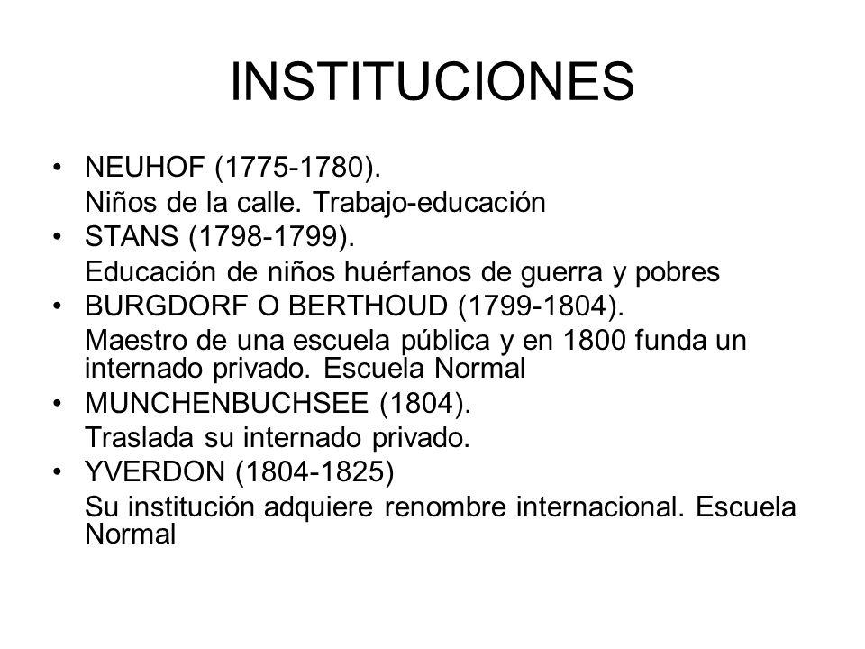 INSTITUCIONES NEUHOF (1775-1780). Niños de la calle. Trabajo-educación STANS (1798-1799). Educación de niños huérfanos de guerra y pobres BURGDORF O B