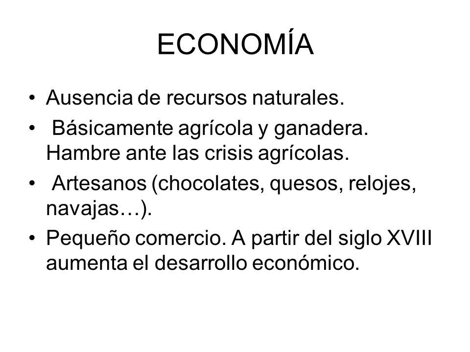 ECONOMÍA Ausencia de recursos naturales. Básicamente agrícola y ganadera. Hambre ante las crisis agrícolas. Artesanos (chocolates, quesos, relojes, na
