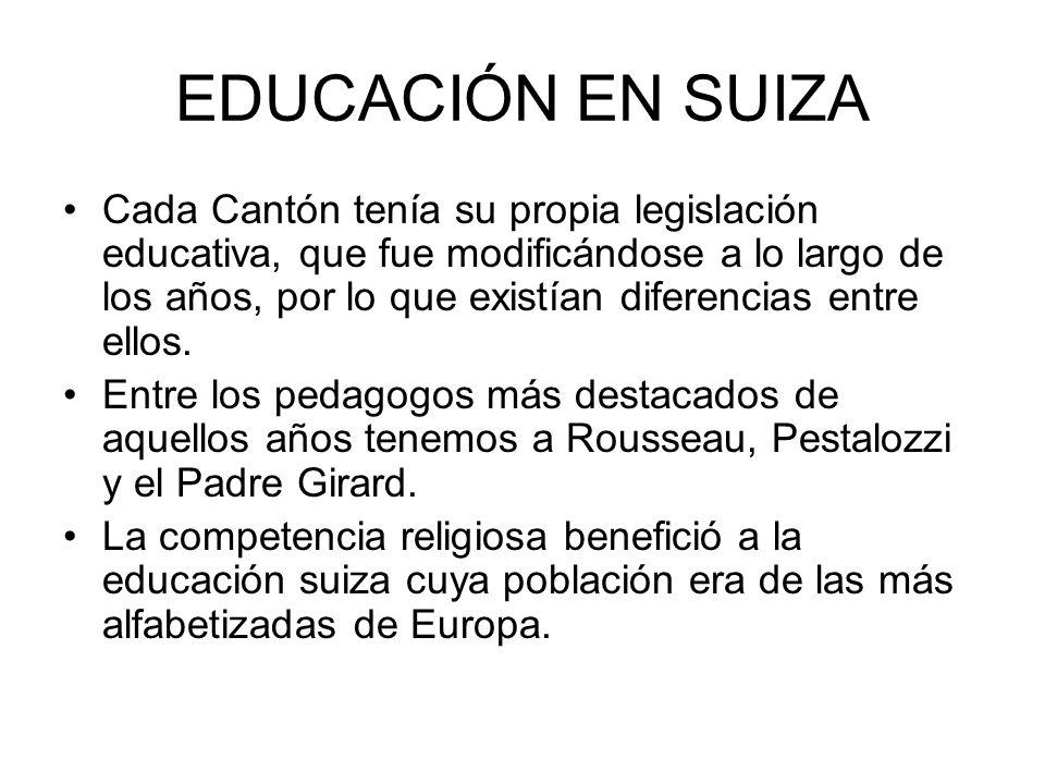 EDUCACIÓN EN SUIZA Cada Cantón tenía su propia legislación educativa, que fue modificándose a lo largo de los años, por lo que existían diferencias en
