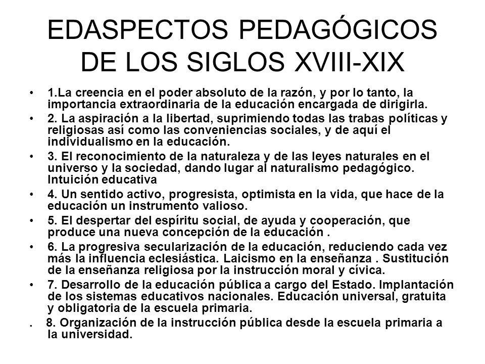 EDASPECTOS PEDAGÓGICOS DE LOS SIGLOS XVIII-XIX 1.La creencia en el poder absoluto de la razón, y por lo tanto, la importancia extraordinaria de la edu