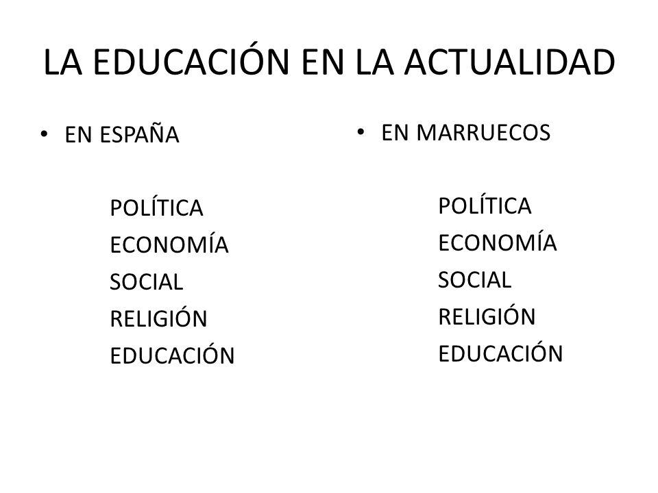 LA EDUCACIÓN EN LA ACTUALIDAD EN ESPAÑA POLÍTICA ECONOMÍA SOCIAL RELIGIÓN EDUCACIÓN EN MARRUECOS POLÍTICA ECONOMÍA SOCIAL RELIGIÓN EDUCACIÓN