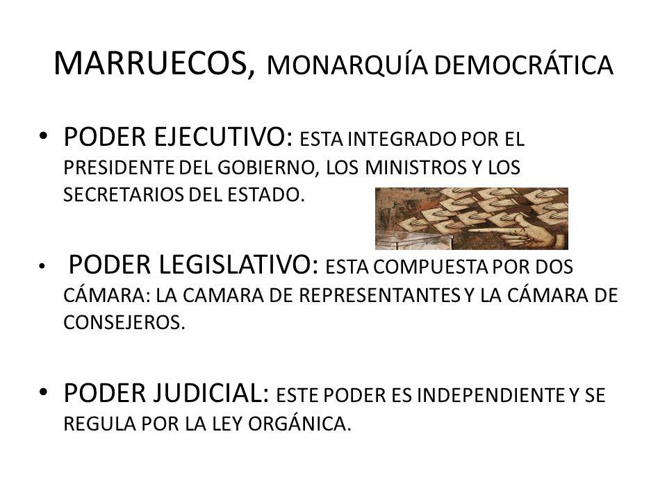 MARRUECOS, MONARQUÍA DEMOCRÁTICA PODER EJECUTIVO: ESTA INTEGRADO POR EL PRESIDENTE DEL GOBIERNO, LOS MINISTROS Y LOS SECRETARIOS DEL ESTADO. PODER LEG