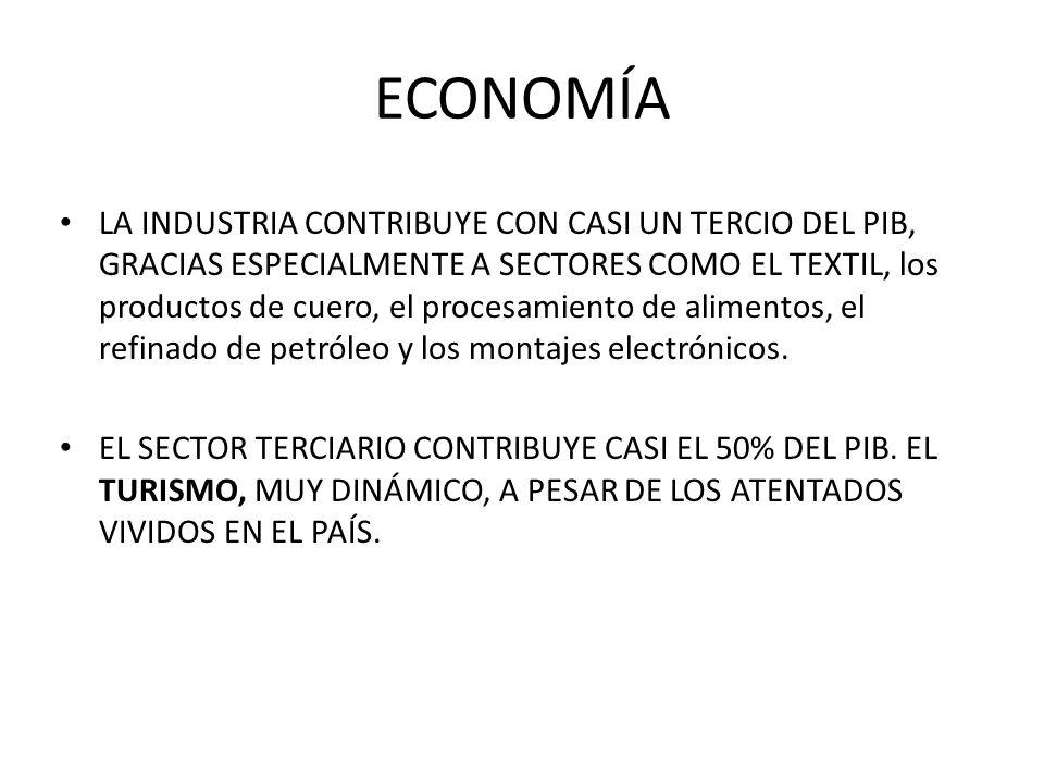 ECONOMÍA LA INDUSTRIA CONTRIBUYE CON CASI UN TERCIO DEL PIB, GRACIAS ESPECIALMENTE A SECTORES COMO EL TEXTIL, los productos de cuero, el procesamiento