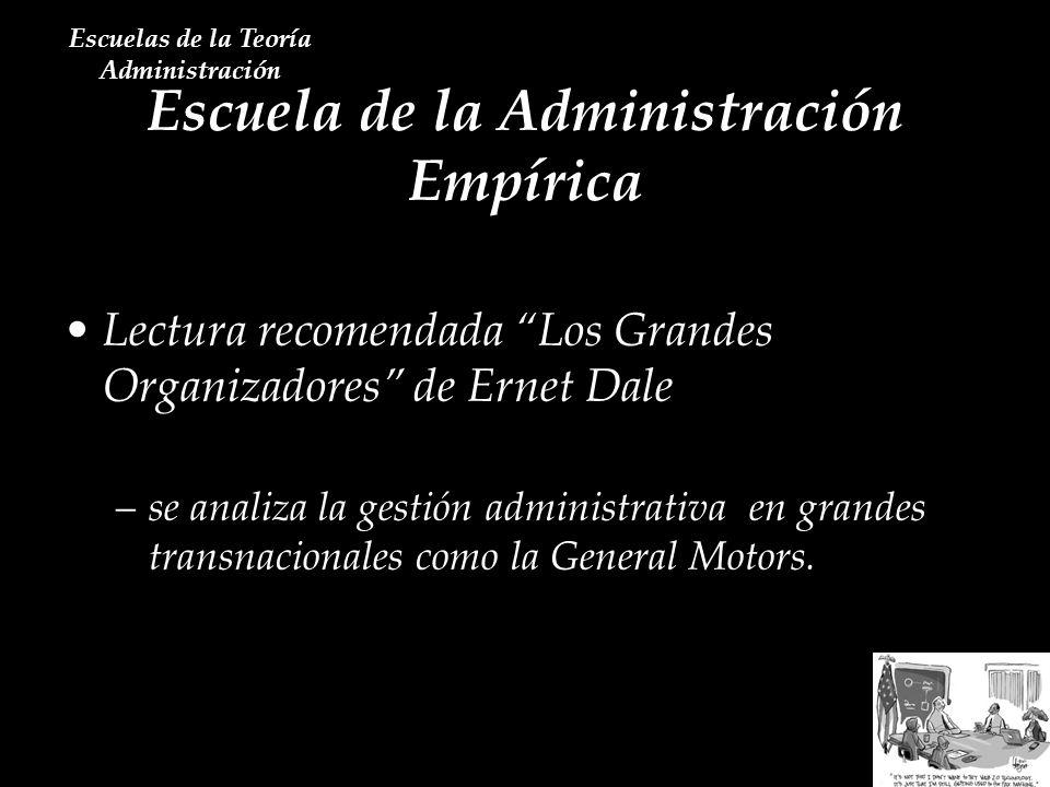 Escuela de la Administración Empírica Escuelas de la Teoría Administración Lectura recomendada Los Grandes Organizadores de Ernet Dale –se analiza la