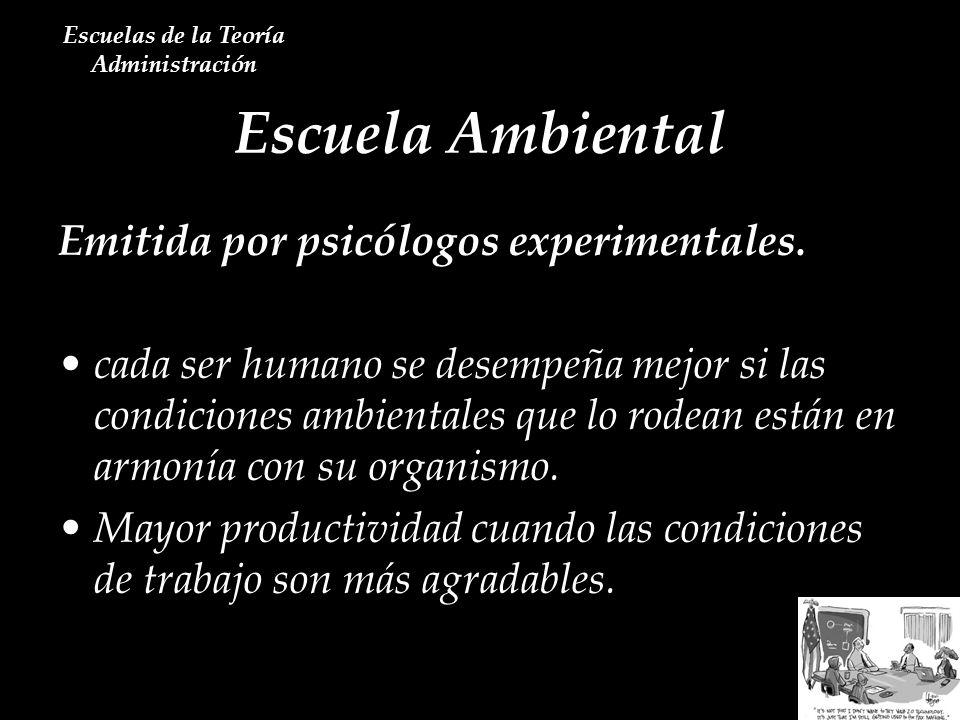 Escuela Ambiental Escuelas de la Teoría Administración Emitida por psicólogos experimentales. cada ser humano se desempeña mejor si las condiciones am