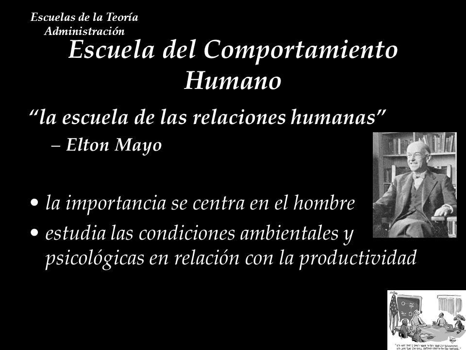 Escuela del Comportamiento Humano Escuelas de la Teoría Administración la escuela de las relaciones humanas –Elton Mayo la importancia se centra en el