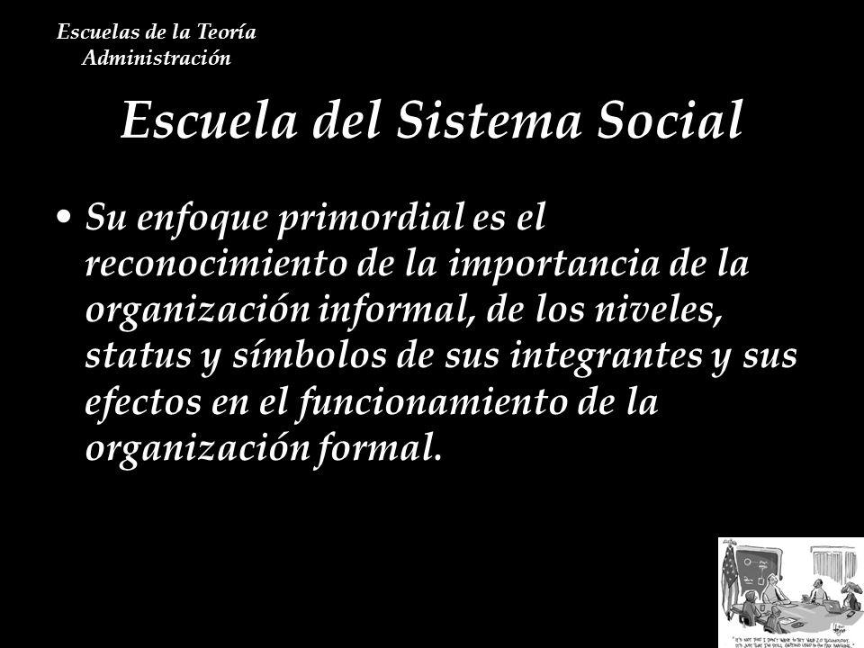 Escuela del Sistema Social Escuelas de la Teoría Administración Su enfoque primordial es el reconocimiento de la importancia de la organización inform