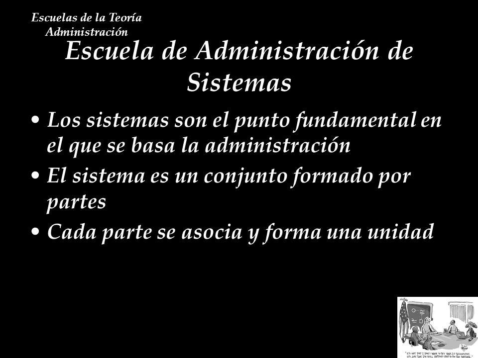 Escuela de Administración de Sistemas Escuelas de la Teoría Administración Los sistemas son el punto fundamental en el que se basa la administración E