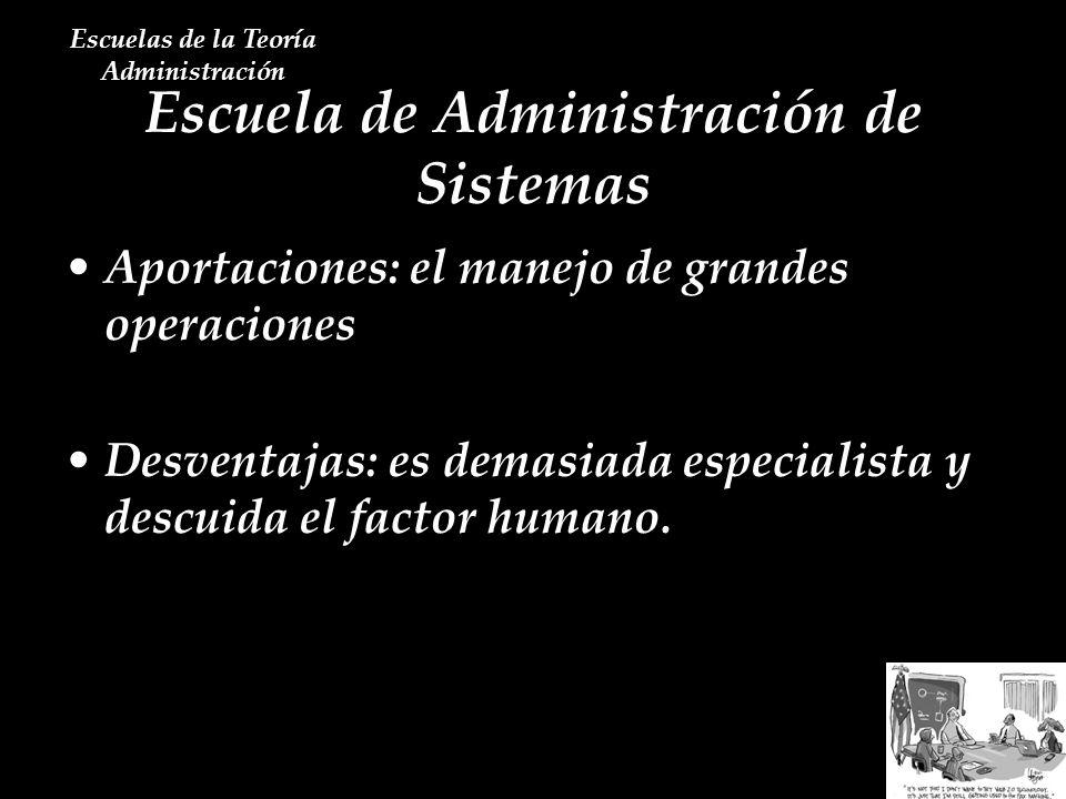 Escuela de Administración de Sistemas Escuelas de la Teoría Administración Aportaciones: el manejo de grandes operaciones Desventajas: es demasiada es