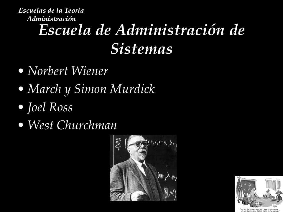 Escuela de Administración de Sistemas Escuelas de la Teoría Administración Norbert Wiener March y Simon Murdick Joel Ross West Churchman