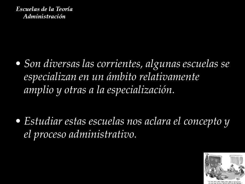 Corrientes Actuales en la Administración Escuelas de la Teoría Administración Cada administrador debe actualizarse constantemente a fin de formar su criterio propio.